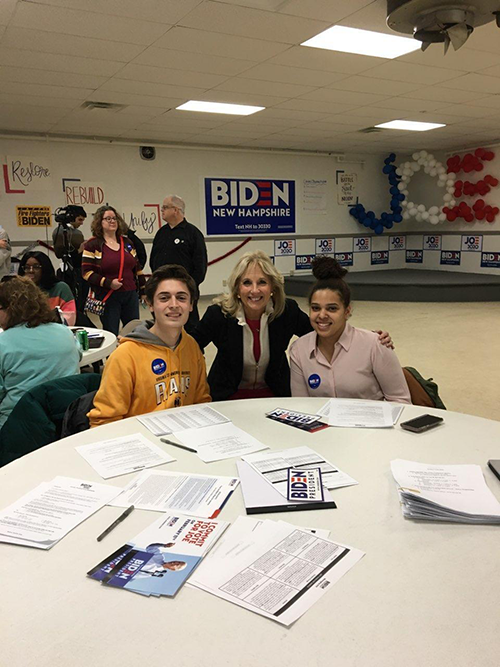 Several of the students phonebanked alongside Jill Biden, Ed.D., wife of former vice president and Democratic presidential candidate Joe Biden.
