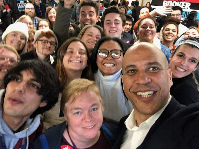 V.C.U. students and faculty members took a photo with Senator Cory Booker, who was still in the Democratic primary race at the time.